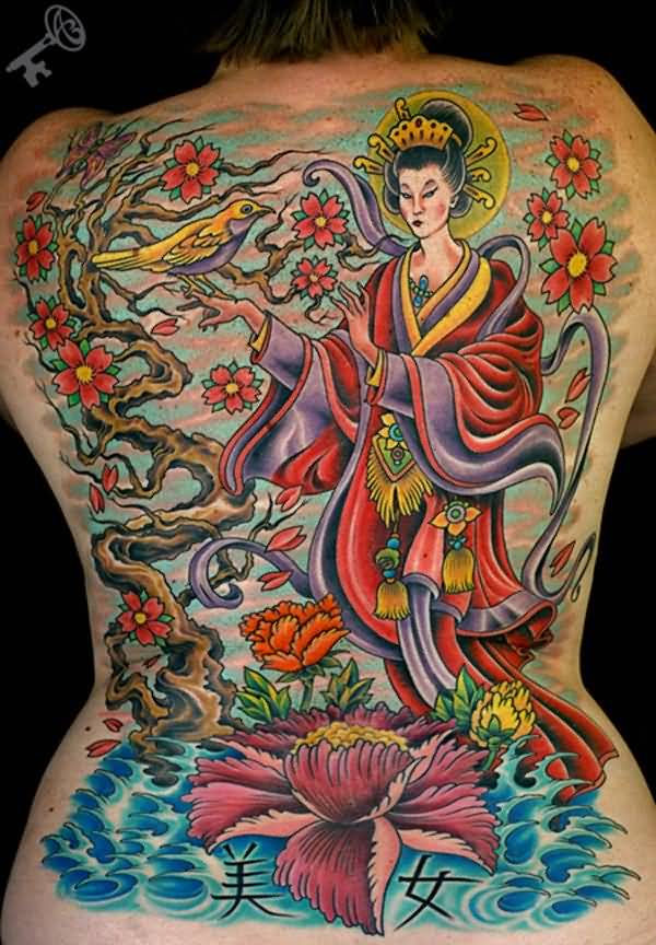 Animated Asian Princess And Lotus Flower Tattoo On Back
