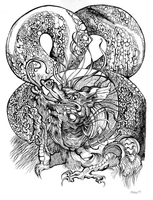 Black Ink Asian Dragon Tattoo Stencil Design