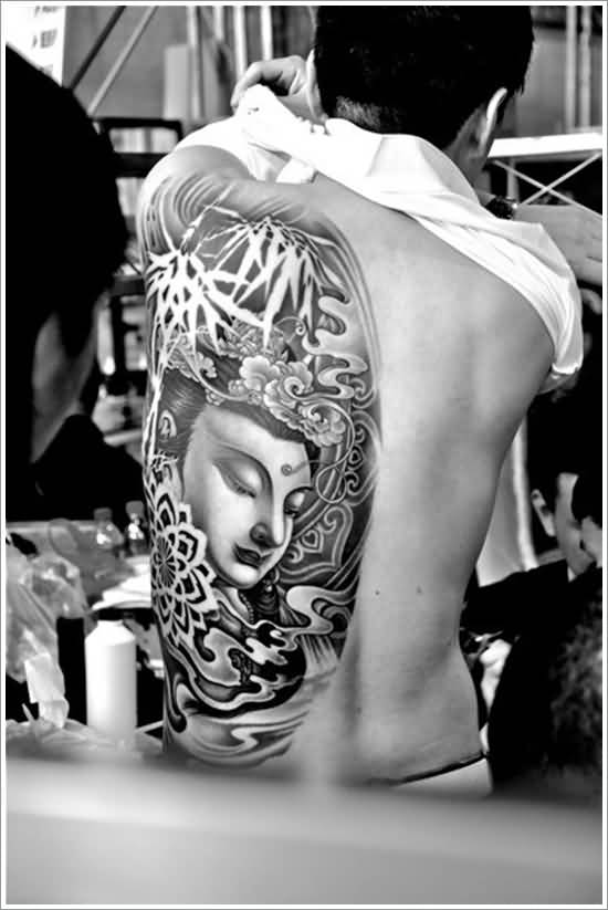 True 3D Asian Lord Buddha Face Tattoo On Men Back