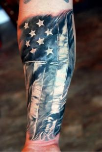 Black and White Ink Famous American Flag Tattoo On Men Sleeve