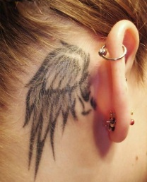 Black Ink Small Angel Wing Tattoo Behing Ear