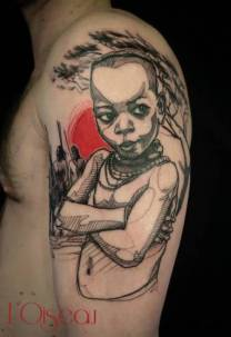 Cool Black Ink African Kid Tattoo On Shoulder